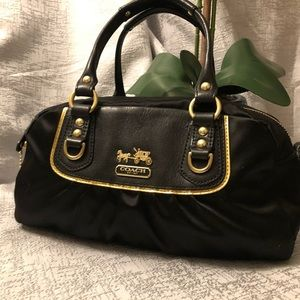 COACH Black satin w/ gold trim small satchel